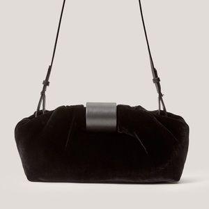 Silk blend velvet pouch bag